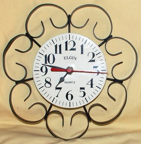 Vintage Elgin Kitchen Clock Wrought Iron Frame