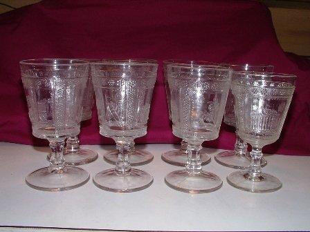 Adams Glass Cleopatra Pattern 8 Stems