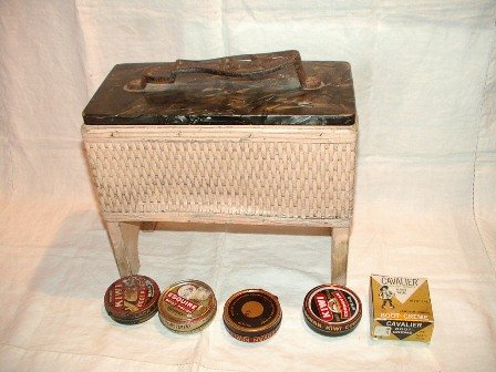 Vintage Wicker Shoe Shine Box