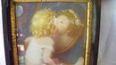 Antique Picture Baby Kissing Herself in Mirror