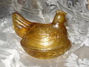 Vintage Amber Glass Hen Covered Dish