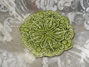 Vintage Majolica Leaf Pedestal Dish