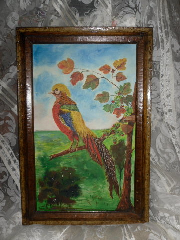 Vintage Hand Painted Bird Painting