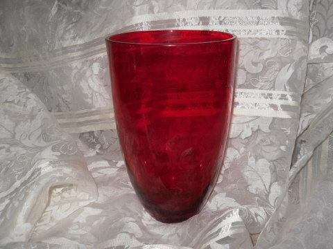 Vintage Large Red Glass Vase