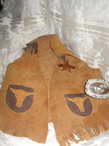 Vintage Hubley Cap Gun w/Holster & Western Leather Vest
