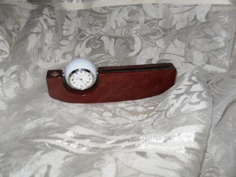 Golf Ball Clock w/Business Card Holder