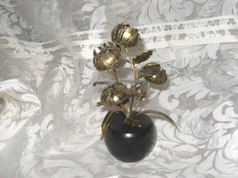 Vintage Metal Flower Sculpture w/Wood Base