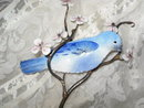 Vintage Enamel on Copper Blue Bird Sculpture