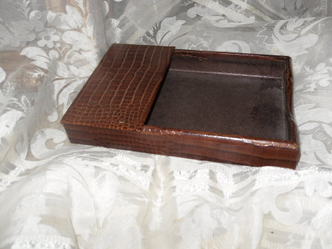 Vintage Leather Stationary/Notepad Holder