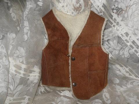 Boys Leather & Fleece Vest