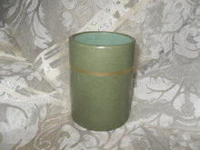 Vintage Green Leather Pencil Caddy or Pencil Holder