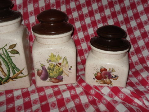 Vintage Canister Set w/Vegetables