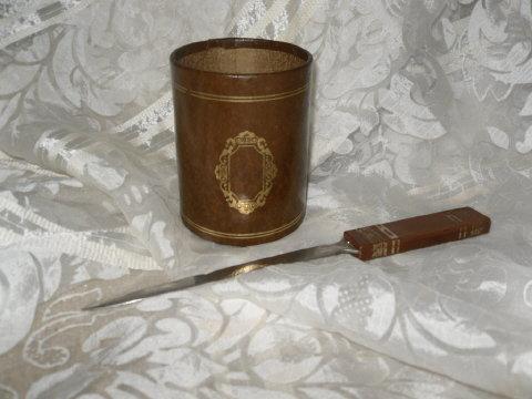 Vintage Leather Pencil Caddy & Letter Knife Opener