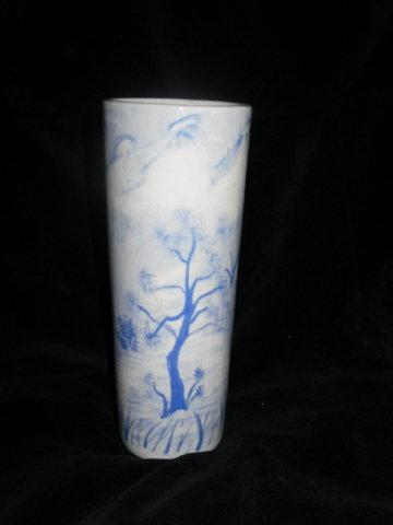 Vintage Art Pottery Blue & White Scenery Vase  **Signed**