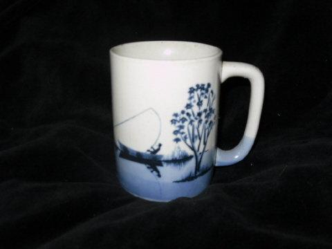 Vintage Art Pottery Fisherman Coffee Mug