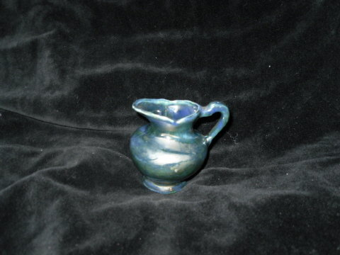 Vintage Miniature Blue Metallic Glaze Pottery Pitcher