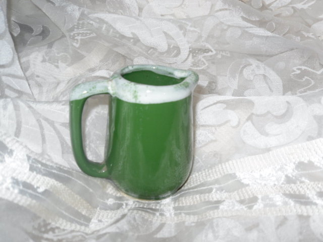 Vintage Miniature Green Pottery Pitcher