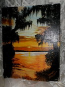 Vintage Original Sunset Painting **Signed **LOOK**