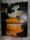 Vintage Original Sunset Painting **Signed **LOOK**