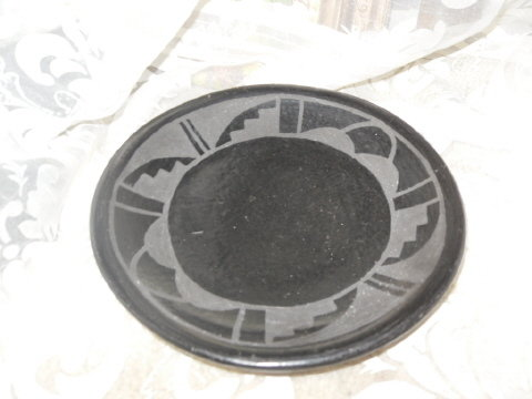 Vintage San Ildefonso Black Clay Pottery Signed Donicia Tafoya