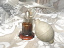 Vintage Amber Glass Perfume Bottle & Atomizer