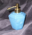 Vintage French Blue Opaline Glass Perfume Bottle & Atomizer