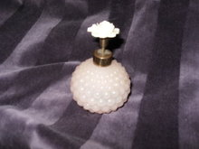 Vintage Pink Glass Perfume Bottle w/Rose Atomizer