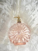 Vintage Pink Iridescent Glass Perfume Bottle & Atomizer ***LOOK***