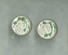 Vintage reverse Painted Glass Rose Earrings