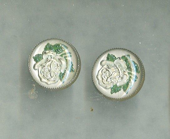Vintage reverse Painted Glass Rose Earrings
