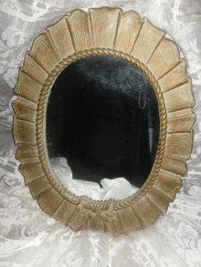 Vintage Boudoir Mirror w/Ruffle Frame  **LARGE**