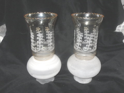 Antique Glass Hurricane Lamp Shade    **MUST SEE** **Pair**