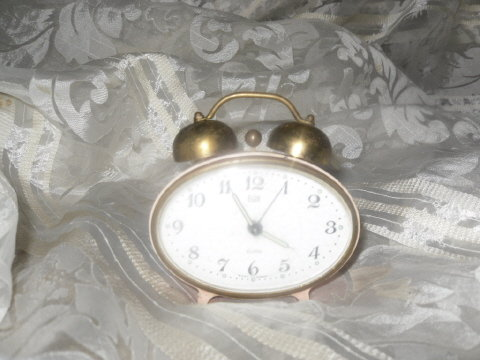 Vintage Pink Elgin Double Bell Alarm Clock