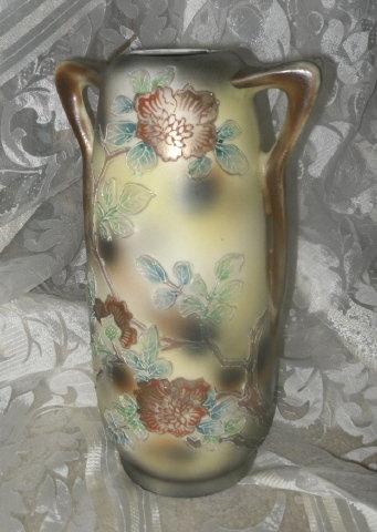 Vintage Porcelain Vase Double Handle w/Raised Flower Decoration