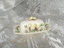 Vintage Covered Butter Dish w/Mushroom Decoration