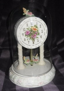 Porcelain Hummingbird Clock w/Glass Dome Cover