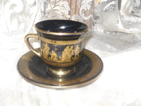 Vintage Spyropoulos Greece Porcelain Cup & Saucer w/24 karat Gold
