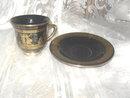 Vintage Spyropoulos Greece Porcelain Cup w/ 24 karat Gold