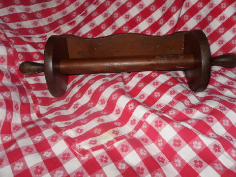 Vintage Wood Paper Towel Holder w/Wooden Rolling Pin