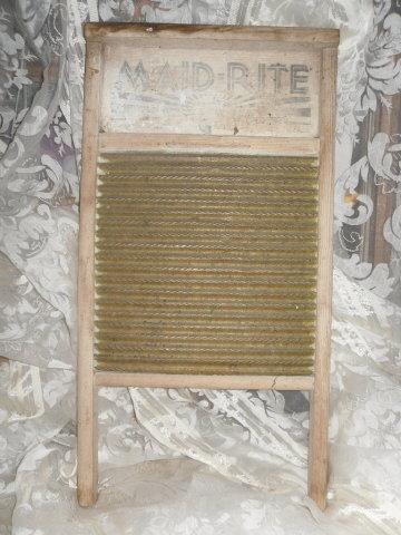 Antique Brass & Wood Wash Board