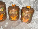 Vintage Treasure Craft Butterfly Canister Set