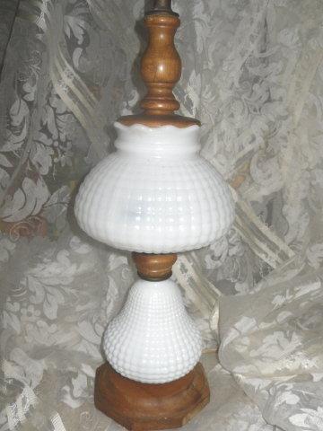 Vintage Milk Glass & Wood Table lamp