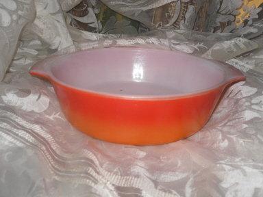Vintage  Red & Orange Fire King Casserole Dish