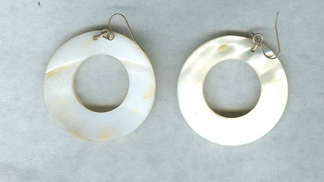 Vintage Mother of Pearl Hoop Earrings