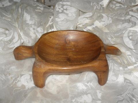 Vintage Hand Carved Wood Turtle Dish