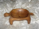 Vintage Hand Carved Wood Turtle Dish