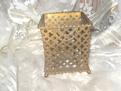 Vintage Metal Square Tissue Holder or Tissue Caddy
