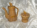 Vintage Porcelain Basketweave Coffee Pot w/Rooster Lid