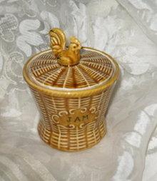 Vintage Porcelain Basketweave Jam Pot w/Rooster Lid