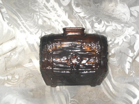 Vintage Amber Glass Treasure Chest Coin Bank